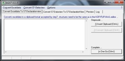 screenshot of xls2s7db